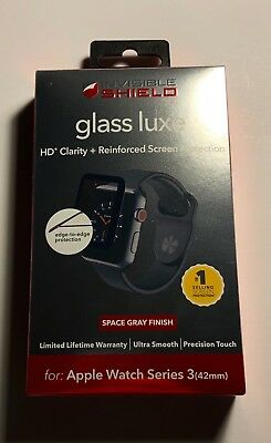New Zagg InvisibleShield Glass Luxe Screen Protector Apple Watch Series 3 42mm