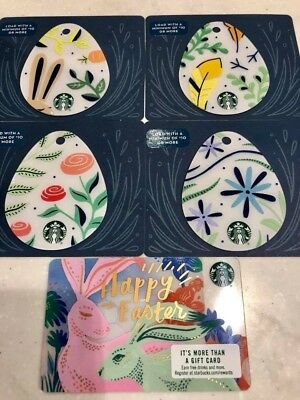 2018 Starbucks EASTER Gift Card Set of 5