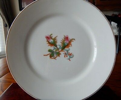 "Antique Limoges Haviland H & Co Moss Rose Plate 7 3/8"" Thin Gold Band"
