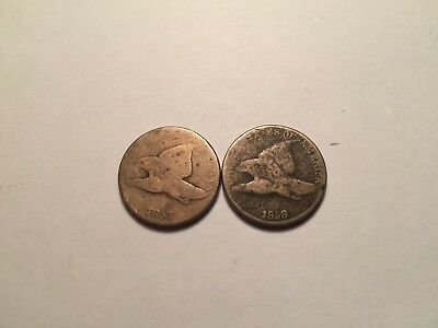 (2) Flying Eagle Cents,1857 And 1858,cooper-Nickle,3 Years Type,full Dates,look!
