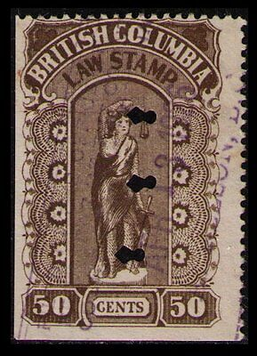 BRITISH COLUMBIA REVENUE 1912 50c #BCL25 FINE USED LAW STAMP SEE NOTE (U231)