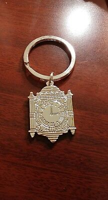 NWOT Marshall Field's Metal Silver Famous Clock Keychain Key Chain Ring NOS