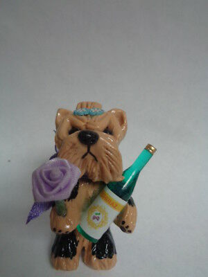 "HAND SCULPTED ART~~~~YORKIE Yorkshire Terrier ""THANK YOU"" ART Figurine~~~~"