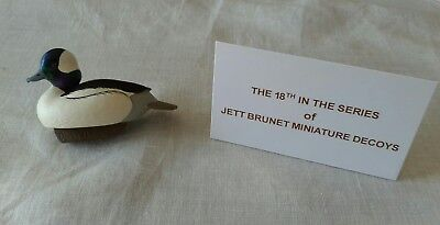 2015 Jett Brunet Ducks Unlimited Bufflehead Drake Miniature Decoy - NIB