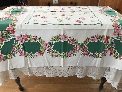 Gorgeous Vintage Shabby Chic Cottage Floral Cotton Tablecloth Rectangle 44 X 50