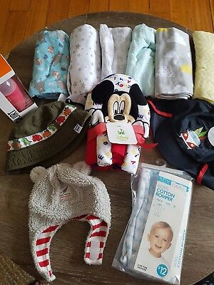 Baby Bundle-blankets/Dent Hats/Squirt spoon/Mickey Mouse Hooded Towel