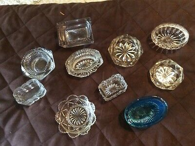10 Small Salt Cellars Cellar Some  Coloured Depression Glass All  Different