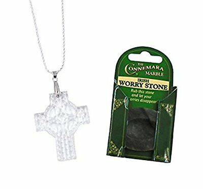 Irish Connemara Marble Worry Stone and Tipperary Crystal Cross Necklace Crosses