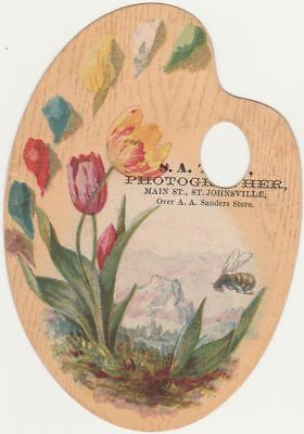 Palette Style Victorian Die-Cut Trade Card - Photographer at St Johnsville NY