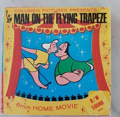 Vintage Man On The Flying Trapeze Super 8 B&W sound home movie Columbia Pictures