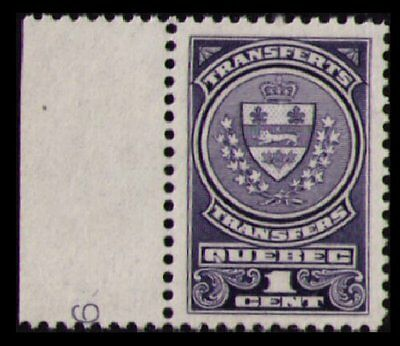QUEBEC REVENUE 1913 1c #QST9 VINTAGE MNG STOCK TRANSFER TAX STAMP CAT $5. (U204)