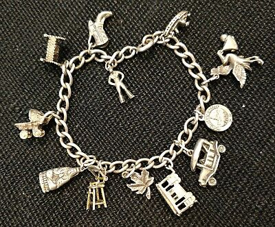 Vintage sterling silver charm bracelet, baby theme, articulated charm