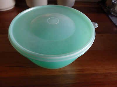 RetroTupperware Lettuce Storage container. Green base, clear lid & green Spike.