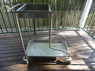 Vintage chrome metal hospital trolley