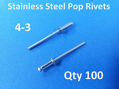 100 POP RIVETS STAINLESS STEEL BLIND DOME 4-3 3.2mm x 8mm 1/8""