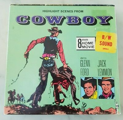 Scenes from 1958 film- COWBOY -  Super 8 B&W sound home movie Columbia Pictures