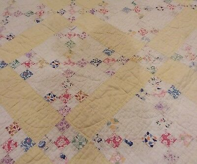 Antique Postage Stamp Patchwork Quilt YELLOW Blocks 1930s-1940s Multi-Color Twin
