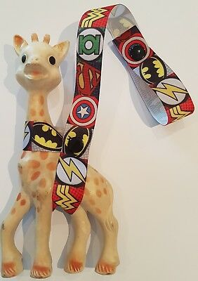Toy saver strap for Sophie the giraffe or as a baby shower gift. Super Heroes V3