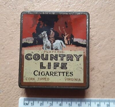 Player's Country Life Cigarette Tin Sydney Cork Tipped Virginia Players