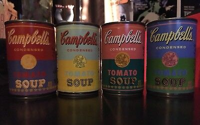 AUTHENTIC Set of 4 ANDY WARHOL Limited Edition Campbells Soup Cans 2012. READ!