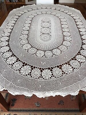 vintage Oval Lace Crochet Tablecloth 193 x 142 cms EXC COND