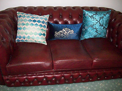 Antique Leather Chesterfield Suite Sofa Couch ruby red buttoned back