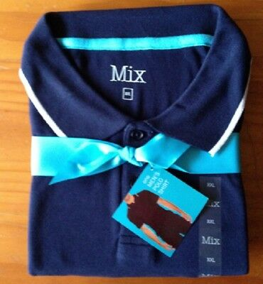 Men's Polo Shirt, size XXL navy with white, cotton, new with label, as per photo