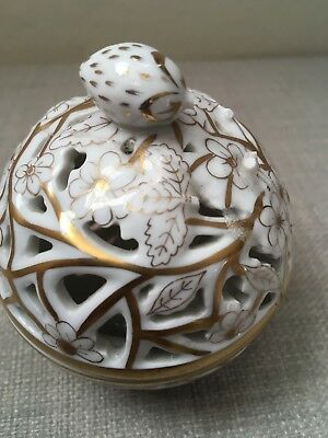Herend Reticulated Bon Bon Dish with Strawberry Motif