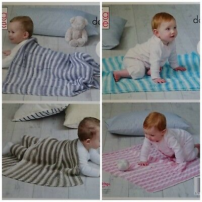 KNITTING PATTERN Easy Knit Baby Blankets 4 Styles Cottonsoft DK King Cole 5101