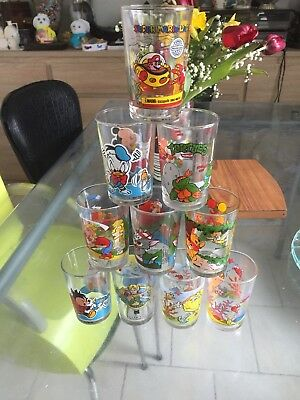 Lot De 10 Verres A Moutarde Mario, Tortues Nina, Tom Et Jerry, Mickey
