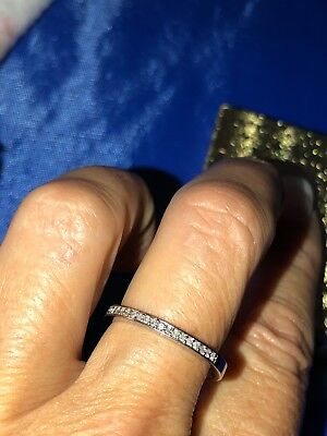 925 STERLING SILVER + DIAMONDS RING Band stackable size 7