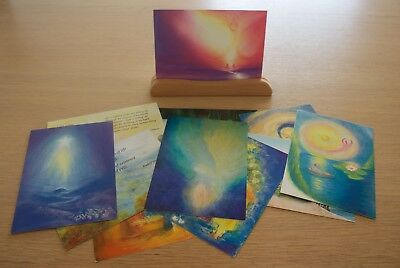 12 beautiful Steiner Waldorf postcards and wooden picture stand - free postage