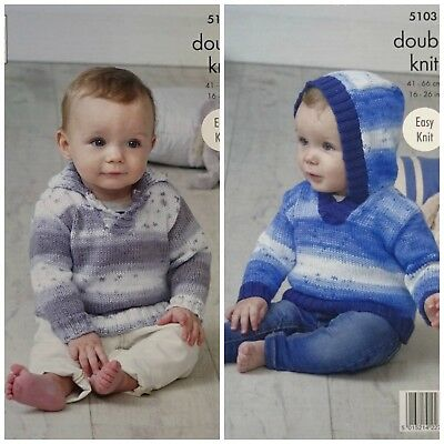 KNITTING PATTERN Easy Knit Baby Jumper and Hoodie Cottonsoft DK King Cole 5103