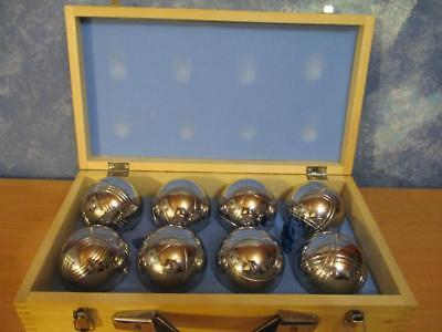 BOULES Set Bocce in Timber Case by Sportcraft 8 Chrome Metal Balls Excellent