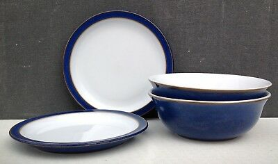 Denby Imperial blue 2 small plates and 2 dishes