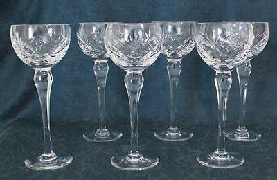 Set of 6 Royal Brierley Braemar Pattern Hock / Wine Glasses