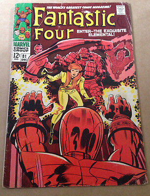 Fantastic Four # 81 - Crystal Joins / Jack Kirby Art - Marvel 1968