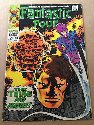 Fantastic Four # 78 - Vs The Wizard / Jack Kirby Art - Marvel 1968