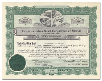 Airtronics International Corp of Florida Stock Certificate (Unique Vignette)