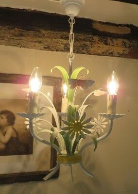 CHARMING VTG. FRENCH TOLE WARE BUTTERFLY CHANDELIER ~ 1970's COUNTRY HOME
