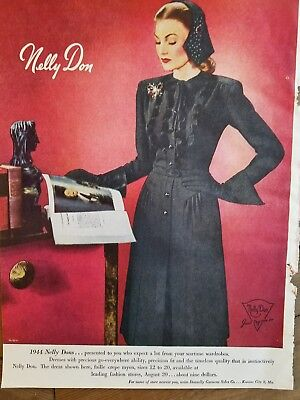1944 Nelly Don women's black dress fashion vintage clothing ad