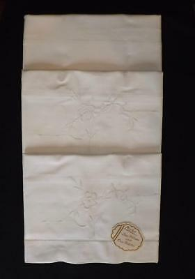 Vintage UNUSED Irish Linen Embroidered Pair of Pillowcases and Bolster Set