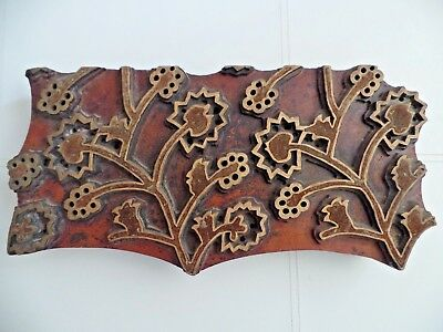 Large Antique Carved Wooden Printing Block Wallpaper Textile Fabric Wall Display