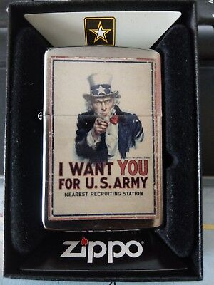Zippo  Very Rare  Uncle Sam (I Want You) Us Army Official Licensee