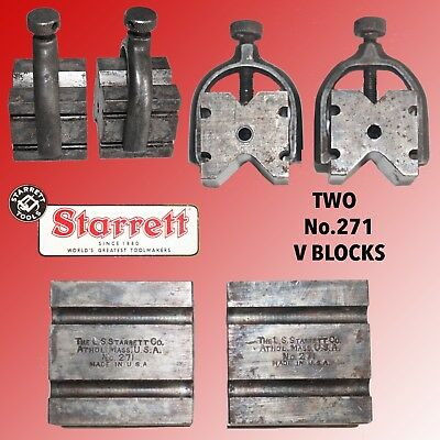 Pair Of Starrett #271 V Blocks With Clamps And 2 Different Depth V's On Each