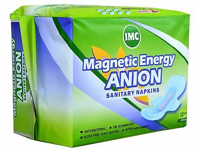Magnetic Energy Anion Sanitary Napkins 290 mm Long 10 Pads Per Pack