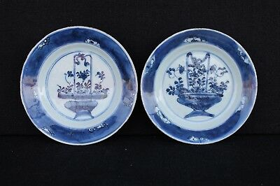 Two small Kangxi period plates with flower baskets ca. 1700