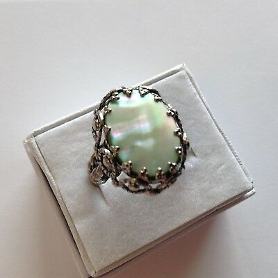 Vintage West Germany Signed Mother Of Pearl Cocktail Ring
