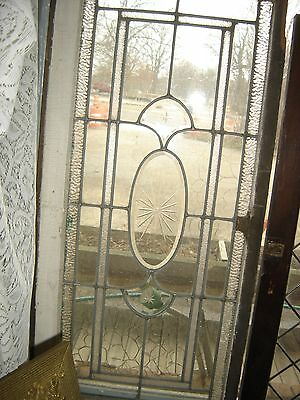 Antique Victorian Leaded Glass Window with beveled panels 8185