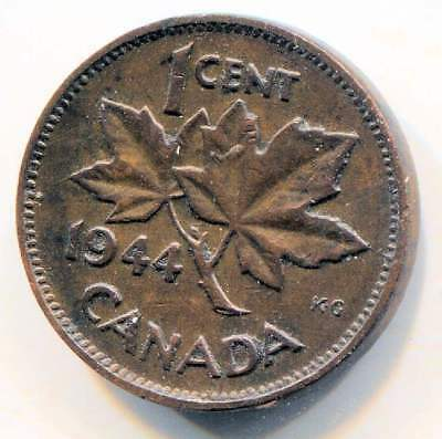 1944 Canadian 1 Cent Maple Leaf Penny Coin - Canada - King George VI